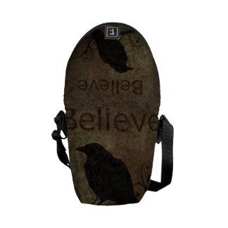 Vintage Believe Crow Courier Bag