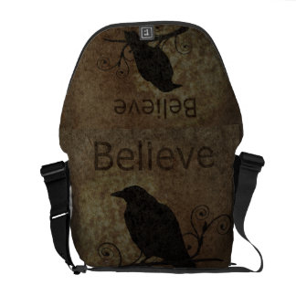 Vintage Believe Crow Messenger Bag
