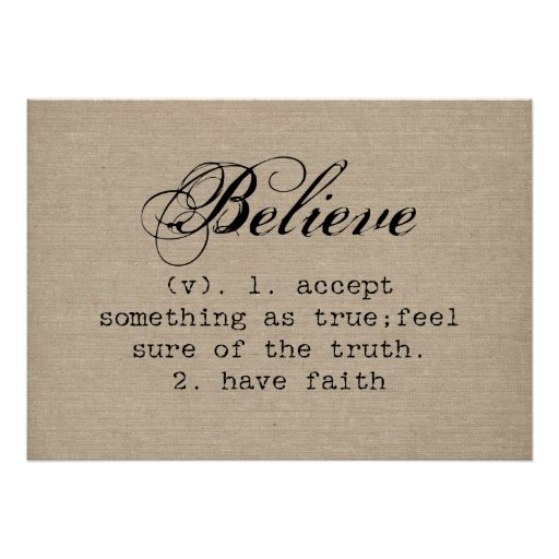 Vintage Believe Definition Rustic Inspirational Poster