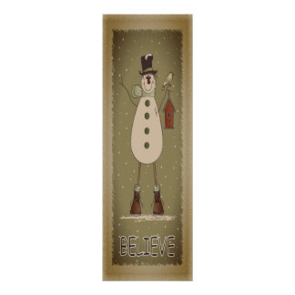 Vintage Believe Snowman Poster