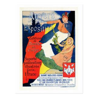 Vintage belle époque Antwerp art expo Postcard