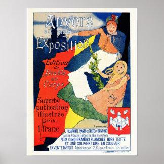 Vintage belle époque Antwerp art expo Print
