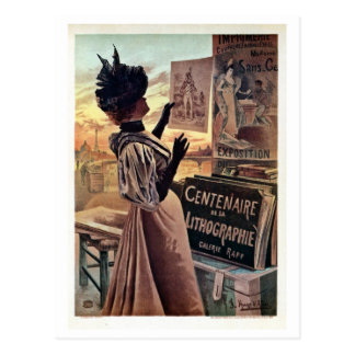 vintage belle époque centennial of lithography postcard