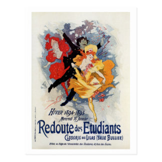 Vintage belle époque French students ball Postcard