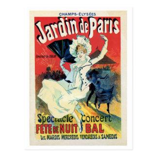 Vintage belle epoque jardin de Paris night party Postcard