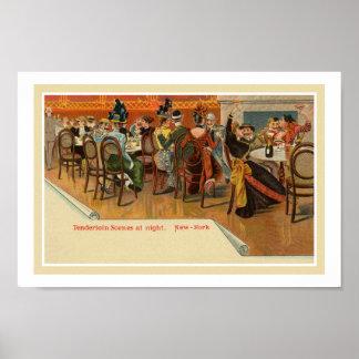 Vintage belle epoque New York restaurant party Poster