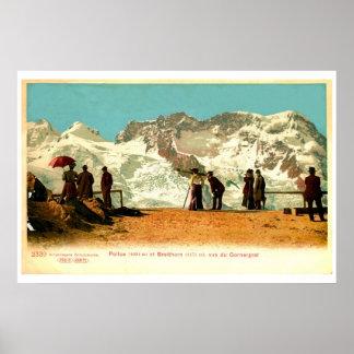 Vintage belle époque scene,  Swiss Alps Poster