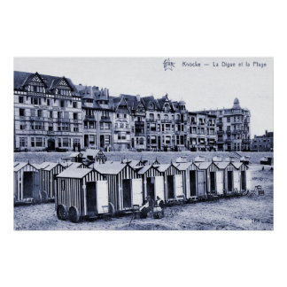 Vintage belle epoque seaside resort and beach posters