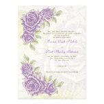 Vintage bellflower purple roses wedding invitation cards
