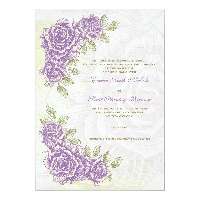 Vintage Bellflower Purple Roses Wedding Invitation