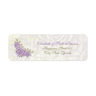 Vintage bellflower purple roses wedding Label