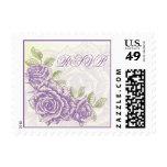 Vintage bellflower purple roses wedding RSVP stamp