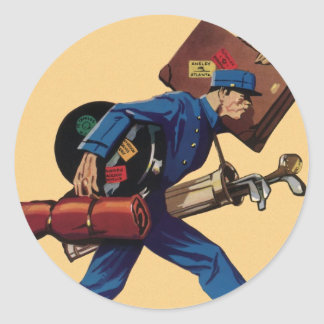 Vintage Bellhop in Uniform and Carrying Luggage Classic Round Sticker