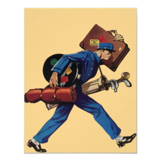 "Vintage Bellhop in Uniform and Carrying Luggage 4.25"" X 5.5"" Invitation Card"
