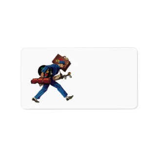 Vintage Bellhop in Uniform and Carrying Luggage Label