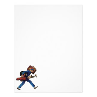 Vintage Bellhop in Uniform and Carrying Luggage Customized Letterhead