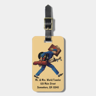 Vintage Bellhop in Uniform and Carrying Luggage Tag For Bags