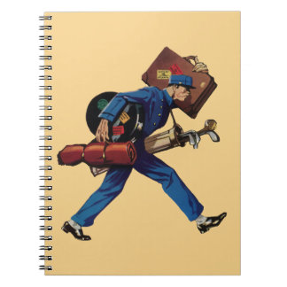 Vintage Bellhop in Uniform and Carrying Luggage Notebook