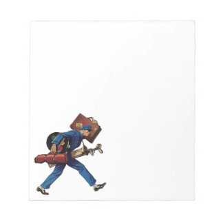 Vintage Bellhop in Uniform and Carrying Luggage Notepad