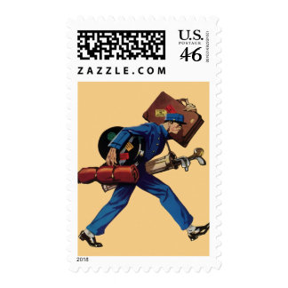 Vintage Bellhop in Uniform and Carrying Luggage Stamps