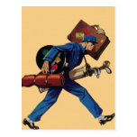 Vintage Bellhop in Uniform and Carrying Luggage Postcard