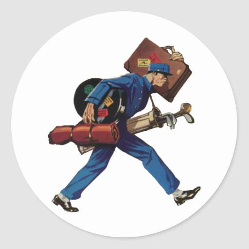 Vintage Bellhop in Uniform and Carrying Luggage Sticker