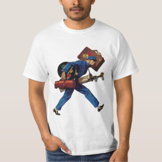 Vintage Bellhop in Uniform and Carrying Luggage T-Shirt