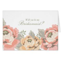 Vintage Belsay Floral Bridesmaid Cards