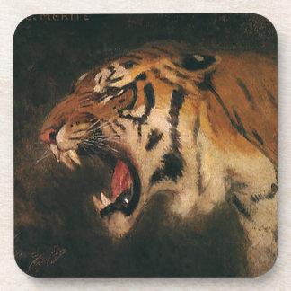 Vintage Bengal Tiger Big Cat Roaring, Wild Animal Beverage Coaster