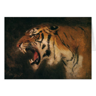 Vintage Bengal Tiger Big Cat Roaring, Wild Animal Card