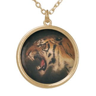 Vintage Bengal Tiger Big Cat Roaring, Wild Animal Gold Plated Necklace
