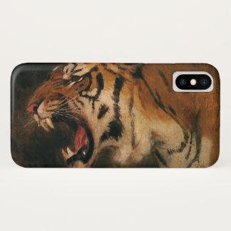 Vintage Bengal Tiger Big Cat Roaring, Wild Animal iPhone X Case
