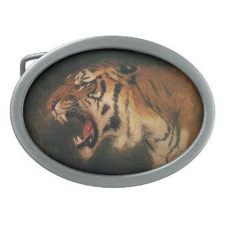 Vintage Bengal Tiger Big Cat Roaring, Wild Animal Oval Belt Buckle