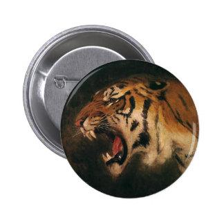 Vintage Bengal Tiger Big Cat Roaring, Wild Animal Pinback Button