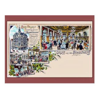 Vintage Berlin 1890s Beer Palace Litho Postcard