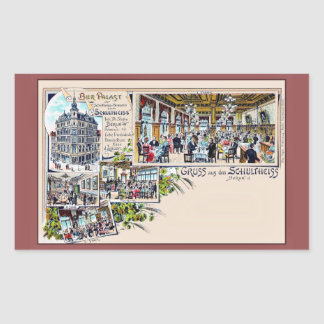 Vintage Berlin 1890s Beer Palace Litho Rectangular Sticker