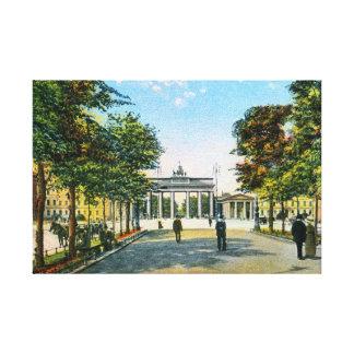 Vintage Berlin Unter Den Linden, Brandenburg gate Stretched Canvas Print