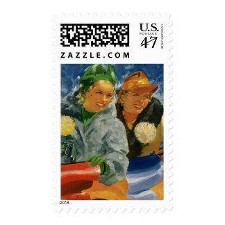 Vintage Best Friends; Elegant and Stylish Women! Postage Stamp