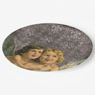 Vintage Best Friends Twins Siblings Angels Party Paper Plate
