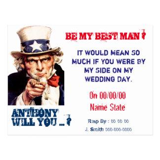 Vintage best man groomsman proposal postcard