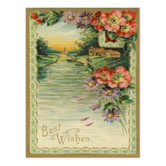 Vintage Best Wishes Postcard