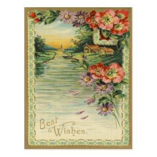 Vintage Best Wishes Postcard