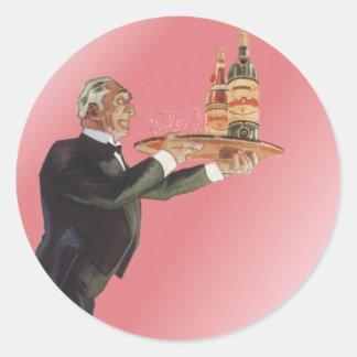 Vintage Beverages, Butler, Drinks, Glasses, Wine Classic Round Sticker