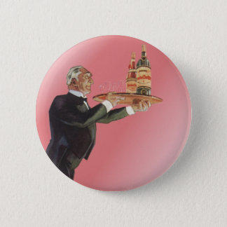 Vintage Beverages, Butler, Drinks, Glasses, Wine Pinback Button