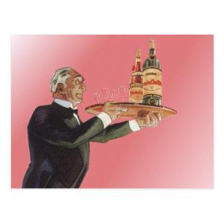 Vintage Beverages Butler Drinks Glasses Wine Postcard