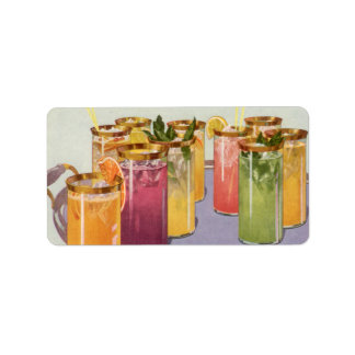 Vintage Beverages, Drinks with Ice Cubes on a Tray Address Label