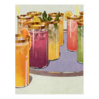 Vintage Beverages, Drinks with Ice Cubes on a Tray Postcard