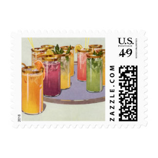 Vintage Beverages, Drinks with Ice Cubes on a Tray Stamp