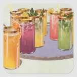 Vintage Beverages, Drinks with Ice Cubes on a Tray Square Sticker