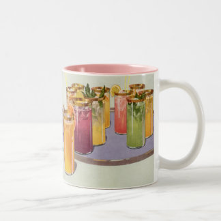 Vintage Beverages, Drinks with Ice Cubes on a Tray Two-Tone Coffee Mug